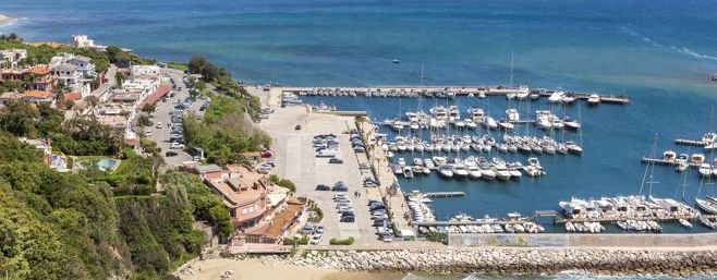 View of San Felice Circeo harbor in Italy.